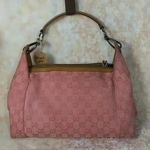 Auth Gucci GG Monogram Pink Canvas Hobo Bag